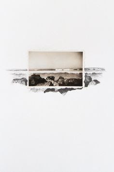Drawing with Vintage Photo - Ocean Landscape by Lauren King