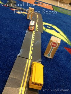 Cars and Trucks and Things That Go on Roads! Spice up your kids car and block play with these great DIY ideas!
