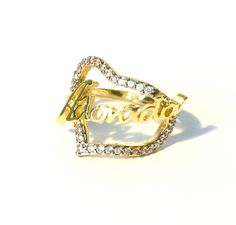 Adorador Heart - Praising Heart Israel Religious Jewish Jewelry Hadassah Ring 18 kt Gold Layered Zirconia Ref.AN33 by HADASSAHjewelry on Etsy