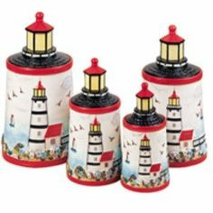 Light House Ceramic Canisters Set Of 4 Table Top By KkM Lighthouse. $43.75.