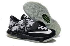 100% authentic 8821d cd834 WMNS KD 7 GS Option VII ID Black White Green Glow in the Dark Kd Shoes
