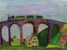 'Steam train on viaduct' by Lorenzo-CZ Canvas Prints, Framed Prints, Art Prints, Art Boards, Colored Pencils, Travel Mug, Transportation, Train, Wall Art