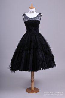 1950's Black Layered Lace Vintage Dress