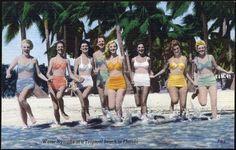 Vintage Florida souvenir postcard - Water Nymphs at a Tropical Beach in Florida - linen bathing beauties Best Beach In Florida, Florida Water, Florida Girl, Old Florida, Florida Beaches, Miami Beach, Vintage Florida, Key Biscayne Florida, Pin Up
