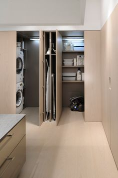 Minimalist Kitchen Design And this long island seamlessly complements that vision. Its length accomm Laundry Room Design, Laundry In Bathroom, Laundry Rooms, Laundry Closet, Tiny Closet, Utility Closet, Laundry Area, Mud Rooms, Small Laundry