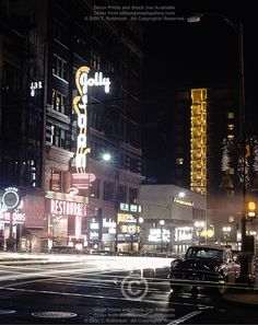 Jolly Joan restaurant sign Broadway from S.W. Alder Street December 1959 Portland Oregon photos historic color