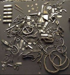 Viking jewelry dug up from a burial site.