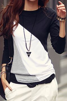 Casual Round Collar Long Sleeve Spliced Color Block Women's T-shirt T-Shirts | RoseGal.com