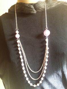 Fashion Necklace three strand with pink beads