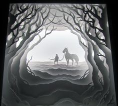 OC Hand cut paper, LED backlit shadowbox art - Imgur