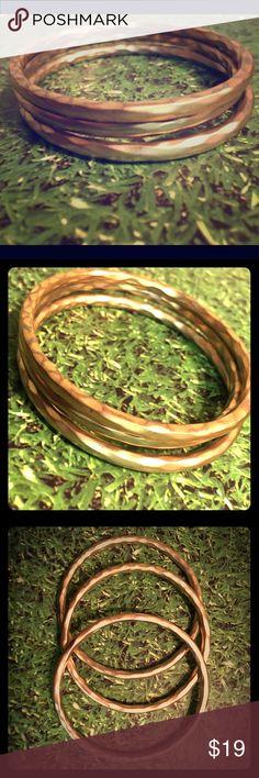 Set of 3 matte gold metal bangles Gorgeous color, quality metal, matte gold bangles! Set of 3. Mint condition! Jewelry Bracelets