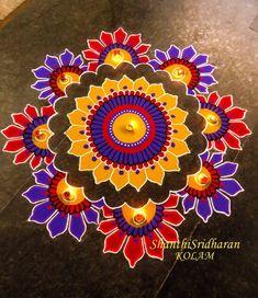 30 Beautiful Diwali Rangoli and Kolam Designs By Shanthi Easy Rangoli Designs Diwali, Best Rangoli Design, Indian Rangoli Designs, Simple Rangoli Designs Images, Rangoli Designs Latest, Rangoli Designs Flower, Rangoli Border Designs, Small Rangoli Design, Colorful Rangoli Designs