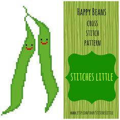 Kawaii Cross Stitch Pattern  Happy Beans  PDF  by StitchesLittle, $2.00 #DIY #needlecraft #StitchesLittle