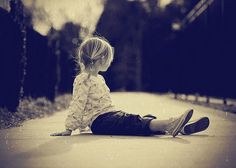 little girl outdoor black and white photograph