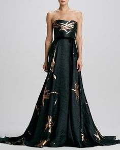 Strapless Twig-Jacquard Ball Gown by Carolina Herrera at Neiman Marcus. #milliondollarshoppersdanielle