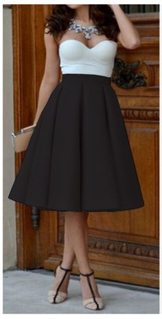 dc700e70416b9 Pure Color High Waist Pleated A-line Skirt