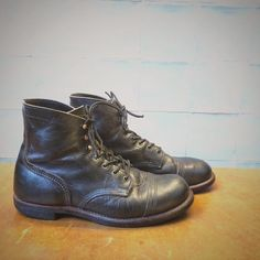 a pair of Red Wing Shoes 8116 Iron Ranger in Charcoal Rough & Tough