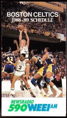 1988-89 BOSTON CELTICS BUDWEISER BEER WEEI BASKETBALL POCKET SCHEDULE FREE SHIP #SCHEDULE