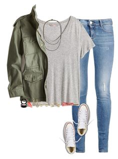 """""""causal day"""" by gourney ❤ liked on Polyvore featuring STELLA McCARTNEY, H&M, Brunello Cucinelli, American Eagle Outfitters, Converse, Kate Spade, 1928, MAC Cosmetics, women's clothing and women's fashion"""