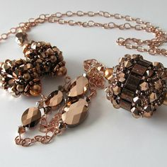 Rose gold Beaded bead Necklace Swarovski crystals Long necklace, Chain necklace