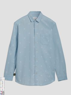 92fb5a9f67 FRANK + OAK Golden State Warriors Printed Summer-Denim Shirt in Light  Indigo.  frank+oak  cloth