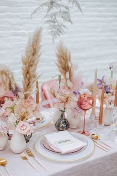 wedding table decorations 287667494934827966 - Rosé inspired wedding decor at the Foundry in NYC Source by planitedm Rustic Wedding Decorations, Wedding Table Centerpieces, Wedding Table Settings, Wedding Themes, Wedding Colors, Wedding Flowers, Wedding Ideas, Rose Wedding, Wedding Hair