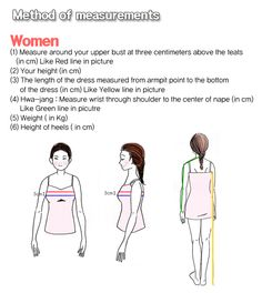 how to measurements hanbok size for women