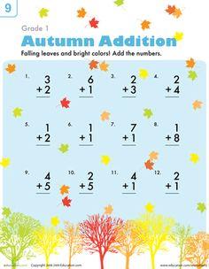 Beginning addition worksheets first grade