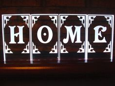 HOME - L.E.D. edge lit display by SomeLikeItEtched on Etsy
