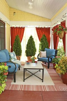 Love The Outdoor Curtain Idea For Privacy I Will Have To Search Friendly Material Small Front Porch Decorating Ideas On A Budget Spring Long