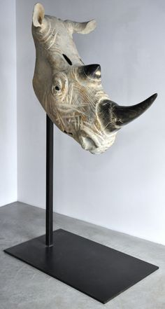 "Quentin Garel, Rhinocéros II, 2012, Bronze, 86½"" x 45½"" x 23½""  #Art…"