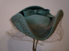 Teal green felt tricorner style hat with embroidery and sequin trimming and veil | United States, 1940's