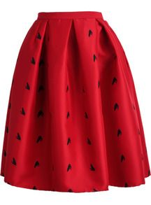 Red Frog Print Flare Skirt this would go well with my black and white striped crop top