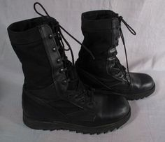 Men's Military Boots Shoes Black Size 9 M Leather Canvas Medium #Military9R #Military