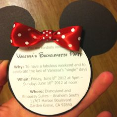 How cute are these for a Disney themed hens night or bridal shower? Saved by: Jess Bedford saved to Disney weddings Minnie Mouse invites I made for Vanessa's bachelorette party. Bachlorette Party, Disneyland Bachelorette Party, Bachelorette Weekend, Bachelorette Ideas, Mickey Bridal Shower, Disney Bridal Showers, Minnie Mouse, Disney Hen Party Ideas, Disney Ideas