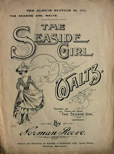 """""""The Seaside Girl""""  Frame and display the vintage sheet music"""