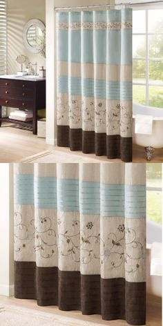 Shower Curtains 20441 Embroidered Curtain Blue Brown Fabric Bathroom Floral Stripe Design New