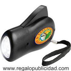 Linterna dinamo con 3 luces LED, personalizadas con el logo de su empresa, baratas, para regalos de empresa, eventos, campañas de marketing y publicidad.