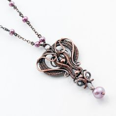 Copper Necklace Lavender Pearl Necklace  Libi by sarahndippity,