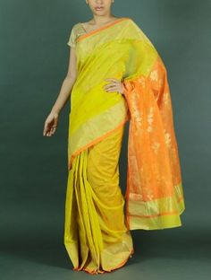 Green Yellow Chanderi Saree