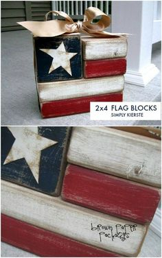 50 DIY Home Decor And Furniture Projects You Can Make From - Fourth Of July Wooden Flag Blocks Best Picture For spring crafts For Your Taste You are looking f - 2x4 Crafts, Wood Block Crafts, Scrap Wood Projects, Wood Projects For Beginners, July Crafts, Wooden Crafts, Summer Crafts, Wooden Diy, Decor Crafts
