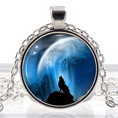 Lunar Wolf Glass Photo Pendant Silver Necklace Jewelry by ChicBridalBoutique on Opensky