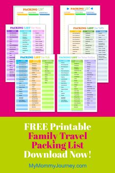 Does it take you hours to pack for your family travels?Download this FREE printable packing list for the whole family! It comes with filled-in lists of items you will need for your travels. It also comes with blank lists so you can fill in the items yourself. Print in colored or black&white to save on ink. Never forget anything at home again! Download now!