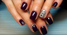 Black nail design with rhinestones :: one1lady.com :: #nail #nails #nailart #manicure