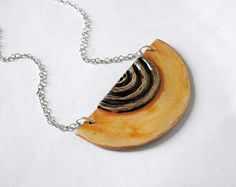 Yellow and brown ceramic statement necklace.