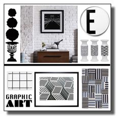 """""""Graphic Art"""" by hellodollface ❤ liked on Polyvore featuring interior, interiors, interior design, home, home decor, interior decorating, Natural Curiosities, Unison, Ink & Ivy and Universal Lighting and Decor"""