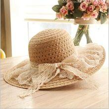 Lace Summer Sun Hats For Women New Fashion Sombreros Wide Brim Beach Side Cap Floppy Female Straw Hat Chapeu de Praia HT51094+10(China (Mainland))