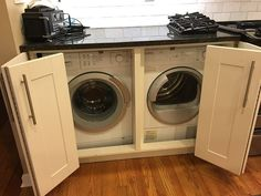 I still love my concealed washer and dryer in the kitchen. Best IKEA hack ever!… I still love my concealed washer and dryer in the kitchen. Best IKEA hack ever! Laundry In Kitchen, Laundry Nook, Basement Laundry, Laundry Closet, Laundry Room Storage, Laundry Room Design, Laundry In Bathroom, Hidden Laundry, Small Laundry
