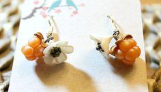 salmonberry jewelry,cloudberry jewelry,Alaska jewelry,flower earrings,berry earrings,Alaska earrings,boho earrings,clay earrings,clay art