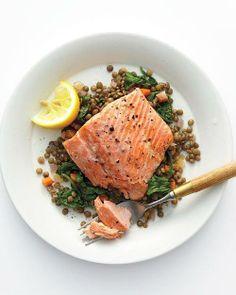 Wild Salmon with Lentils and Arugula Recipe